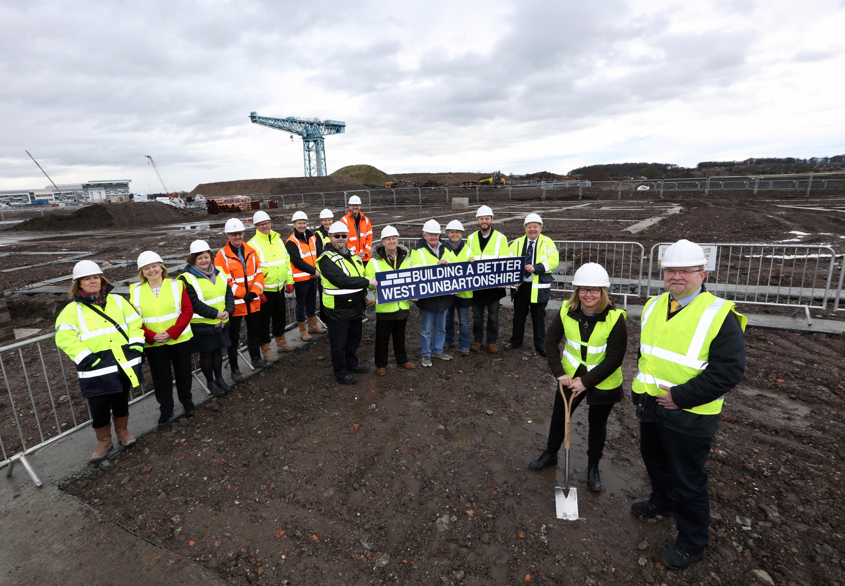 Clydebank Care Home Sod cutting PIC SHOWS Cllr Marie McNair